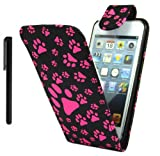 Nokia Asha 300 Ultra Slim Flip Wallet Pouch Case Cover Plus Stylus Pen, Screen Protector & Polishing Cloth (Pink Paws)