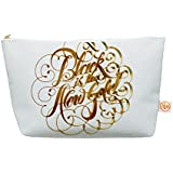 "Kess In House Everything Bag, Tapered Pouch, Roberlan ""Black Is The New Gold"" Metallic Typography, 8.5 X 4 Inches..."