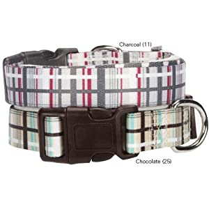 Casual Canine Rad Plaid Dog Collar, 6 to 10-Inch, Chocolate