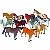 12 Horse Figures – 3″ to 4″ Plastic