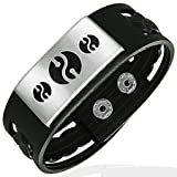 Rubber Snap Bracelet With Stainless Steel 2-Tone Yin Yang Design, Length 20cms