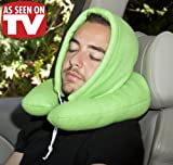 Hooded U-Shaped Pillow with Removable Hood for Home or Travel - GREEN