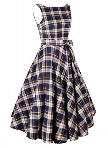 Anni Coco Women's 1950s Vintage Plaid Dresses Gingham Rockabilly Dress coco nut 500g
