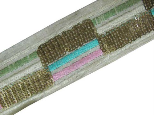 3 Yd Cream Fabric Copper Sequin Embroidery Ribbon Trim