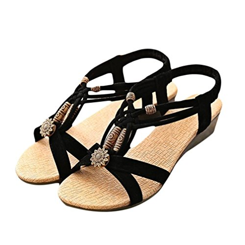 Tenworld Women's Peep-toe Flat Buckle Shoes Roman Summer Beach Sandals (8, Black)