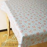 日本製 ラミネート加工 テーブルクロス 105×105cm ジョリィ サックス ( 小花柄 トップクロス 撥水 北欧 ビニール 布 )