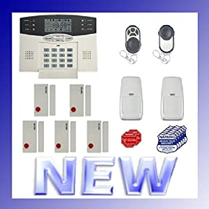 wireless home security alarm system w auto dialer digital back lit lcd display. Black Bedroom Furniture Sets. Home Design Ideas