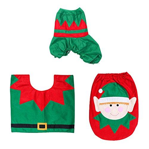 Servizi igienici Natale decorativi Set - 3pcs Happy Holiday Spirit Natale Toilet Seat Cover bagno tappeto SET Imposta Toilet / creativi / Warm layout decorativo di Natale di insiemi di toletta,Spirito