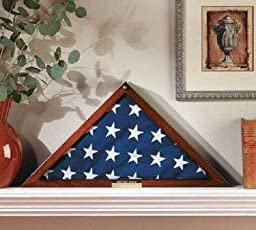 Flag Display Case Memorial with Personalized Brass Plaque - Hold 5\' X 9\' Folded Military Burial Flag