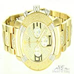 Mens 14k Yellow Gold Finish Diamond King Aqua Master Metal Watch