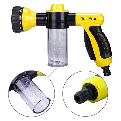 Garden Hose Nozzle – MrPro Hand Spray Nozzle, Heavy Duty High Pressure 8 Adjustable Patterns Watering Nozzle Sprayer Gun, Best for Watering Plants & Lawn & Patio, Car Wash, Showering Pets (Yellow)