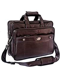 "Stylish 16"" Brown Colour Expandable Faux Leather Specious Laptop Sleeve Messenger Office Bag By-Widnes"