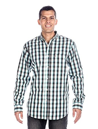 Noble Mount Mens 100% Cotton Casual Shirt - Blue/White - Small