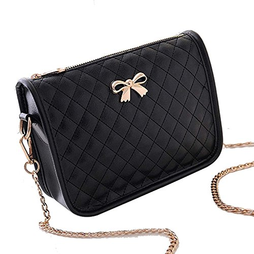 Minetom Borsa a tracolla in pelle artsy borsa donna,Messenger Bag, Bowknot Cross Body Bag, Shoulder Bag or Handbag ( Nero )