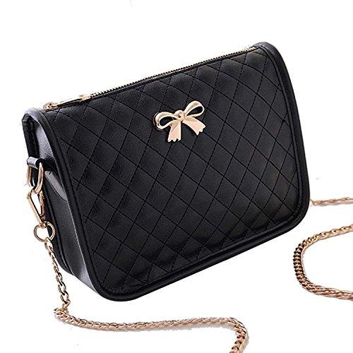Minetom-Ledertasche-Damen-Bowknot-umhngetasche-Handtasche-Satchel-Messenger-Purse-Tasche-5-Farben-Schwarz