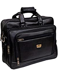 "AYS Stylish 15.5"" Expandable Black Colour Faux Leather Specious Laptop Sleeve Messenger Office Bag"