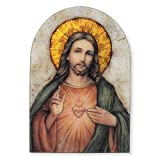Sacred Heart of Jesus Christ Icon 7 Inch Wood Arched Plaque