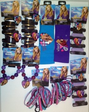 hannah-montana-2-of-each-hair-ponies-snap-clips-elastics1blue-1purple-hairband1charm-bracelet