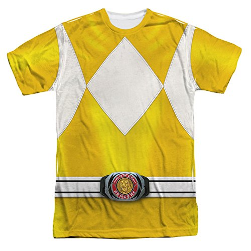 [Power Rangers Childrens Live Action TV Series Yellow Costume Adult Front Print T] (Yellow Power Ranger Costumes Child)