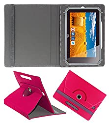 ACM ROTATING 360° LEATHER FLIP CASE FOR HCL ME CONNECT 3G 2.0 Y4 TABLET STAND COVER HOLDER DARK PINK