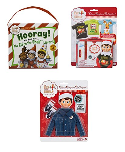 [The Elf on the Shelf T-Shirts, Denim Jacket Set and Board Book Library (3 Piece Bundle)] (Elf On Shelf Costumes)