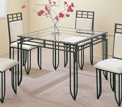Cheap Matrix Style Square 41″ x 41″ Dining Room Glass Top Metal Base Table (VF_F2001)