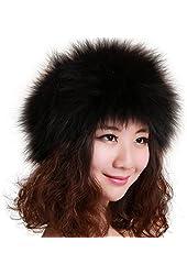FURTALK Newest Fashion Genuine Fox Fur Women Headband Winter Wrap Cap
