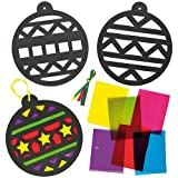 Bauble Stained Glass Effect Decorations for Children to Create and Hang (Pack of 6)