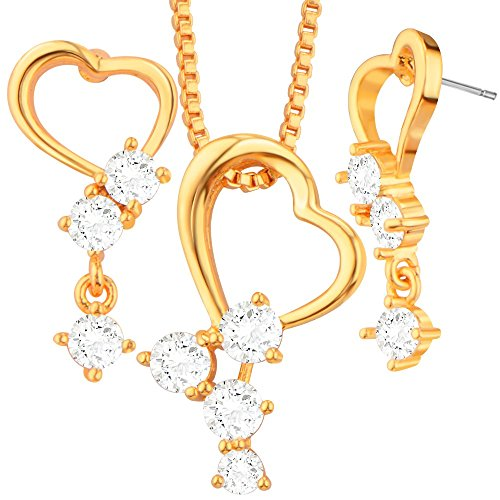 Heart Crystal Pendants Necklaces Earrings For Women 18K Real Gold Plated Fashion Jewelry Set box gift S20116