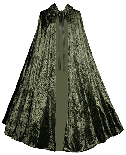 Victorian-Vagabond-Renaissance-Gothic-Steampunk-Velvet-Cape-Cloak-Olive-Green