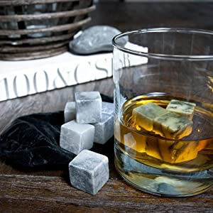 Stone Cask Premium Chilling Stones - Liquor Chilling Stones Great For Cooling Quality Alcohol Without Diluting the Taste - Soapstone 9 Piece Gift Set with Storage Bag Included