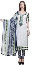 Divyaemporio Women'S Faux Cotton Off White And Blue Salwar Suits Dress Material