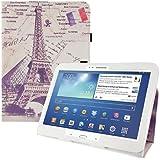 kwmobile® Housse en cuir synthétique chic pour Samsung Galaxy Tab 3 10.1 P5200 / P5210 / P5220 en Beige Blanc etc. avec fonction support pratique et Motif urbain (Paris)