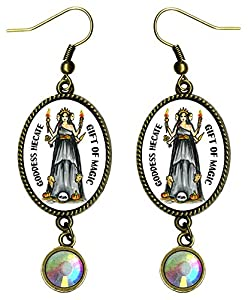 "Goddess Hecate Gift of Magic Antique Bronze Gold Rhinestone 2 1/2"" Earrings"