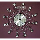Large 45cm sunburst wall clock dimante effect clear beads jeweled metal 735b