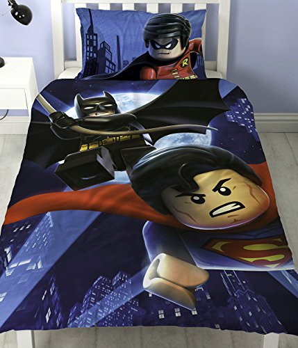 LEGO Batman Superman Battaglia Pannello Singolo Copripiumino Set Letto in policotone reversibile