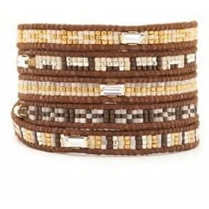 Chan Luu Brown Mix Seed Bead Wrap Bracelet on Brown Leather