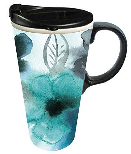 Cypress Home Ceramic Watercolor Floral Travel Coffee Mug, 17 ounces