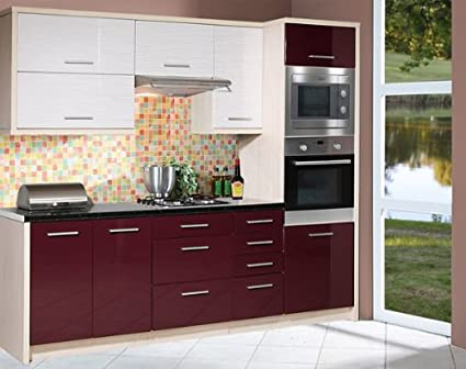 Kuchenzeile Kuchenblock 1633 jersey / violett + white stripes Hochglanz 260cm