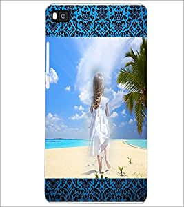 PrintDhaba Stranded Girl D-2494 Back Case Cover for HUAWEI P8 (Multi-Coloured)