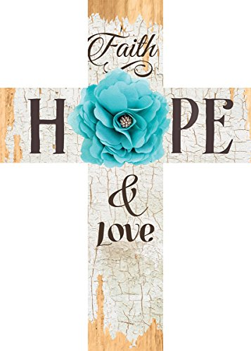 Faith Hope & Love Turquoise Flower Distressed 7 x 5 Wood Wall Art Cross Plaque