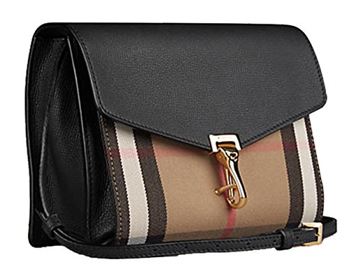 Image of Burberry Women's Small Leather and House Check Crossbody Bag Black