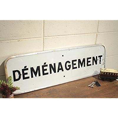フランスアンティーク◇ブリキ製看板/移転標識サイン/英字雑貨(a2400123-3)