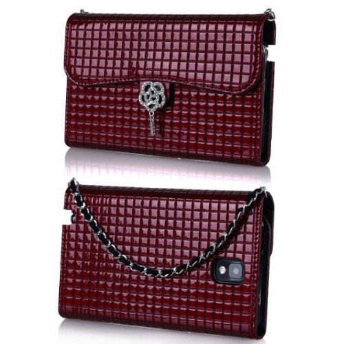 Ihand Handbag Clutch Wallet Case With Bling For Samsung Galaxy Note 3 Iii [Retail Package] - Burgundy