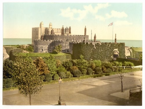 1890s photo The castle, Deal, England. Photochrom (also called the Aäc process) prints are colorized