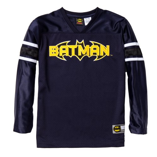 """Batman Boys Long Sleeve Football Inspired V-Neck Jersey W/ Embroidered """"Batman"""" In Team Style In Navy Size: 14/16 front-227245"""