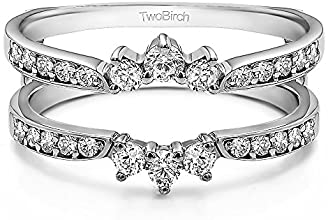 10k Gold Crown Inspired Half Halo Wedding Ring Guard Enhancer with Diamonds 056 ct twt