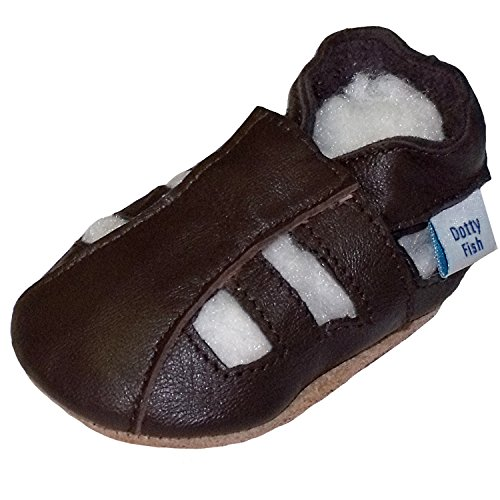 Soft Leather Baby sandal shoes boys or girls with Suede Soles by Dotty Fish with Suede Soles. Brown - 18-24 months