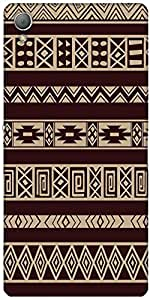 Snoogg Brown Aztec Pattern Designer Protective Back Case Cover For Sony Xperi...