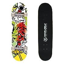WIN.MAX 9 Plies Maple Double Kick Concave Deck Grip Tape Skull Skating Skateboard Red Skull for Primary/Intermediate